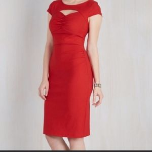 Modcloth |Red Fitted Sheath Dress w/Cut Out small